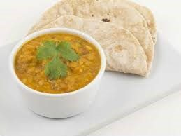 Dal in bowl with bread