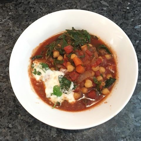 chickpea stew in white bowl