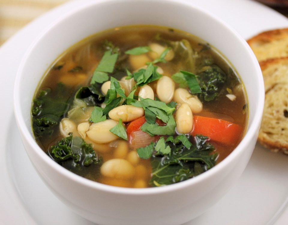 white bean stew in bowl