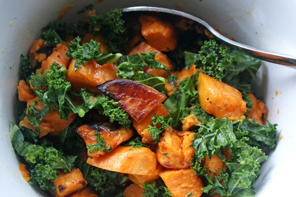 kale and roasted sweet potato in a bowl
