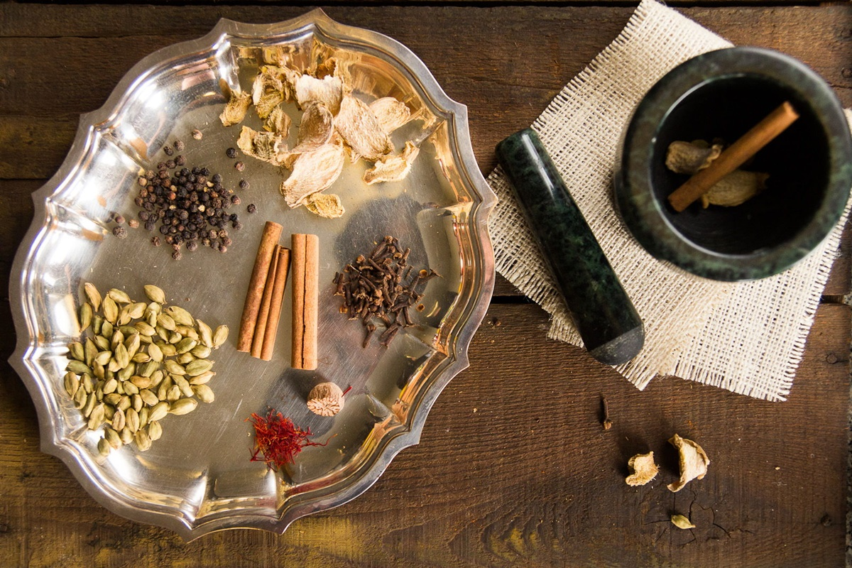 Chai spices on a tray