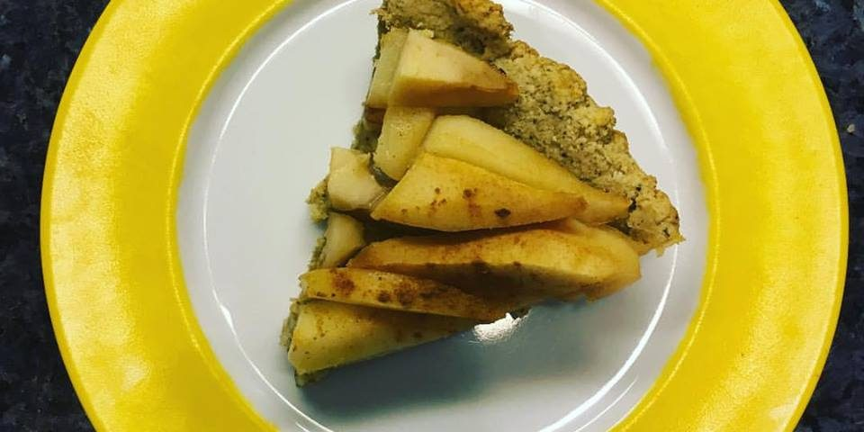 pear almond tart on plate