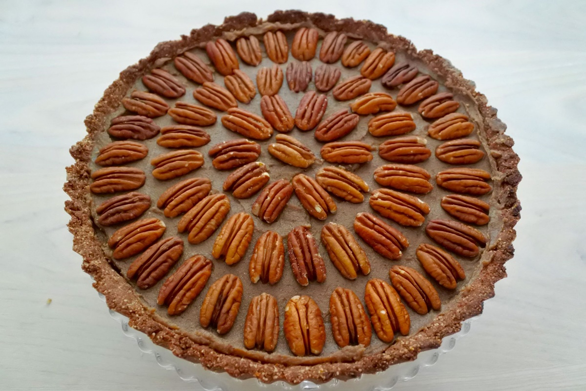 Pecan pie with pecans on top