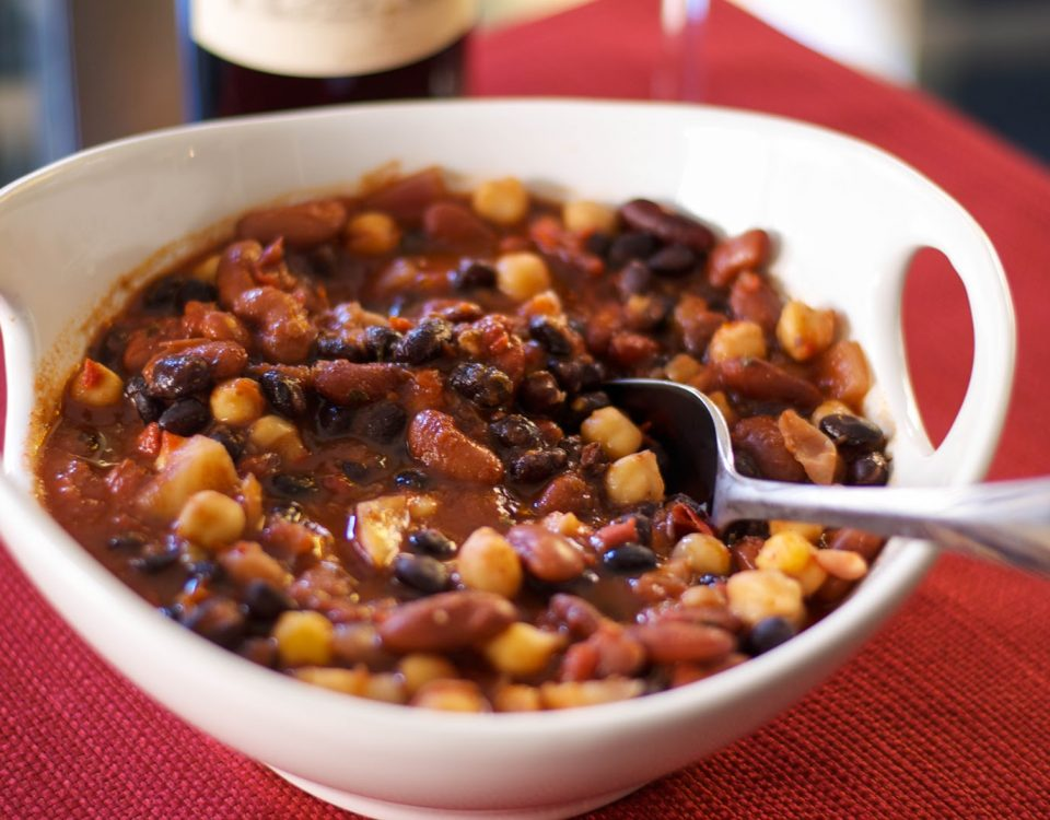 bean chili in white bowl