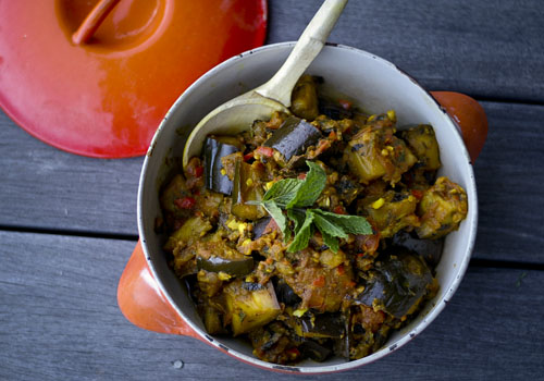 eggplant curry in white bowl