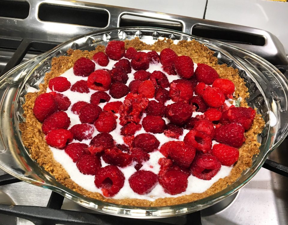 raspberry tart on a stove